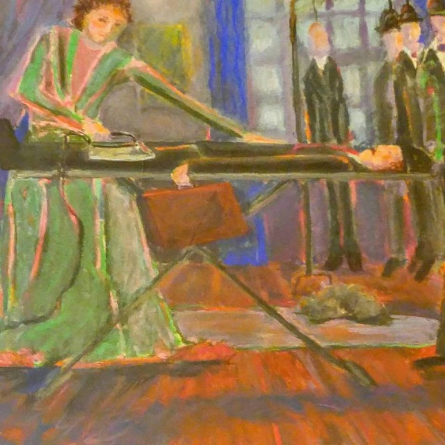 woman ironing men painting  oct 15