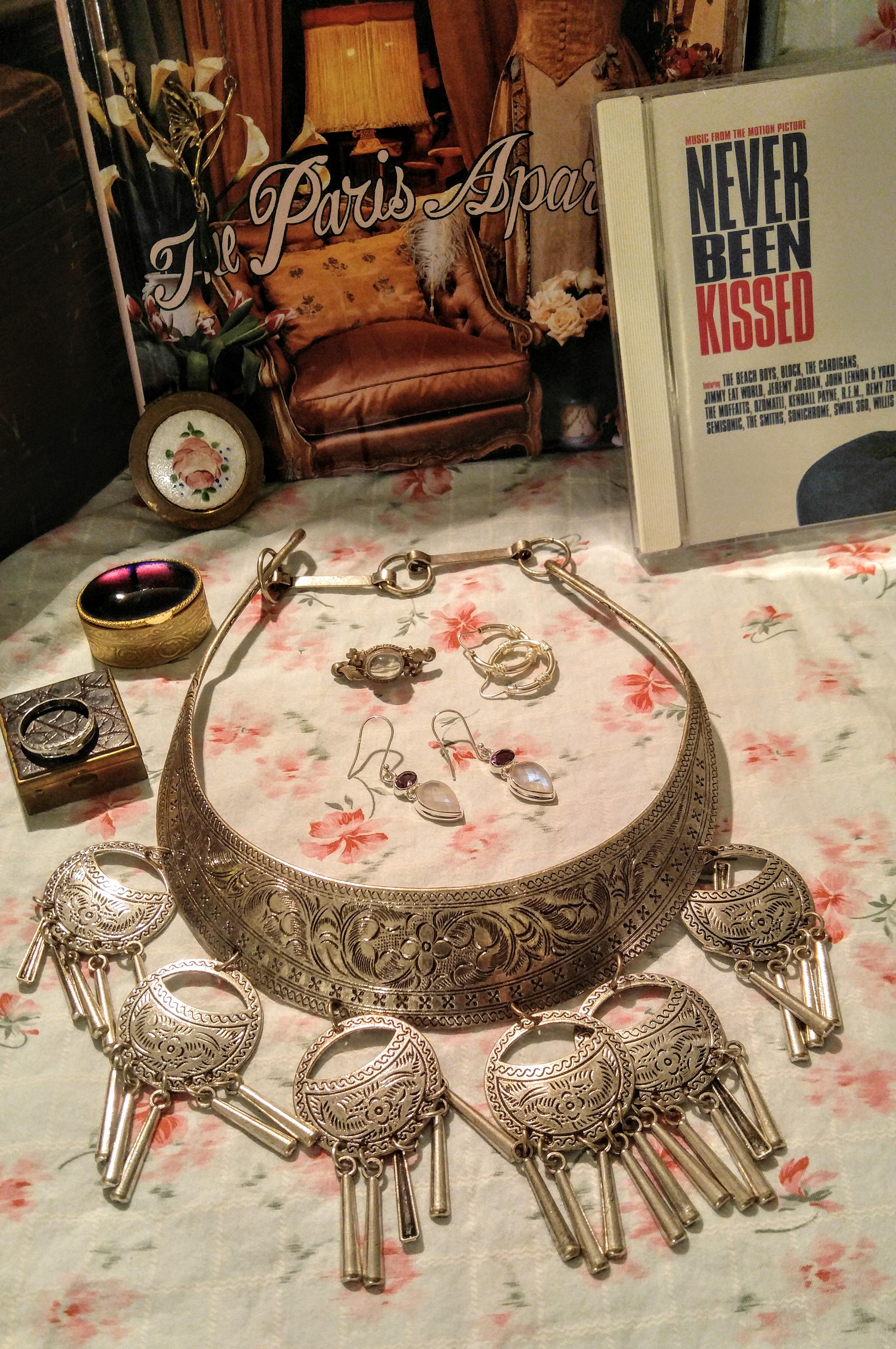 Wonderful Ornate silver Tone Metal Ethnic Necklace