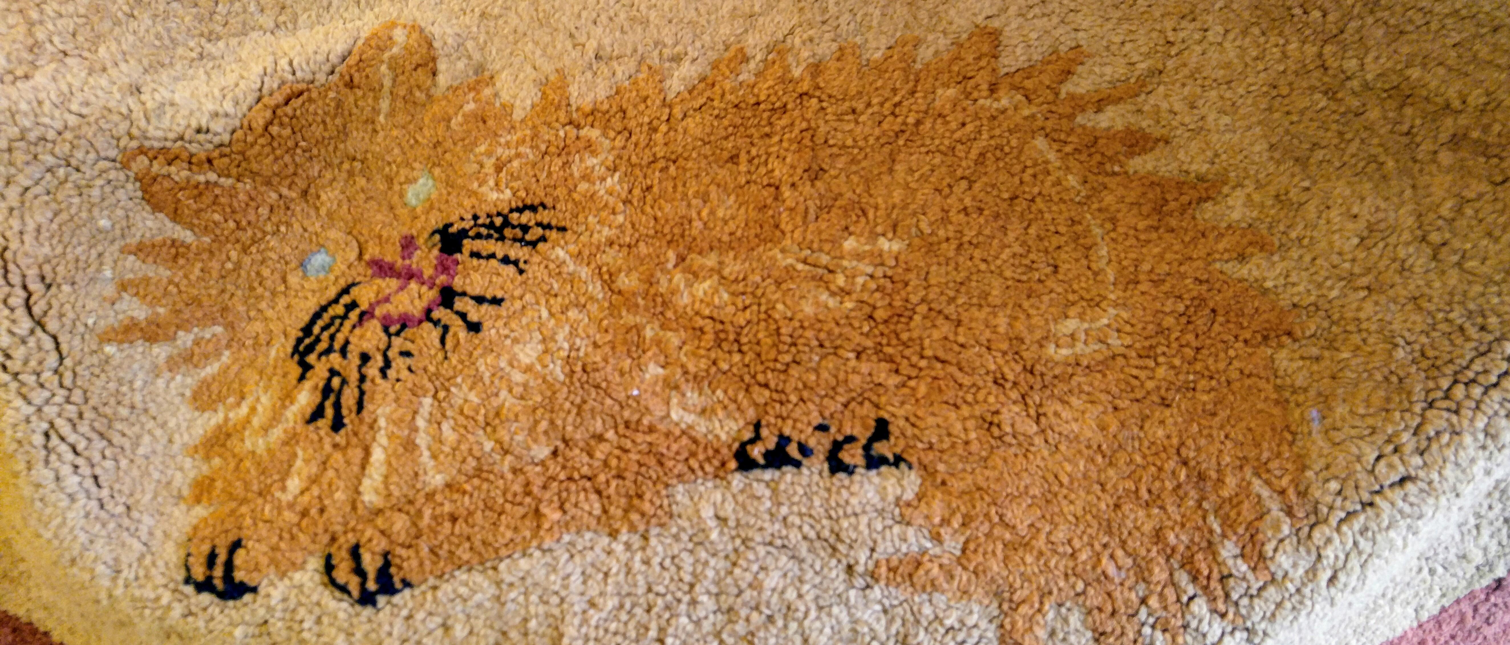 Antique Hooked Rug Ginger Cat Orange Cat, Antiques Fort Worth