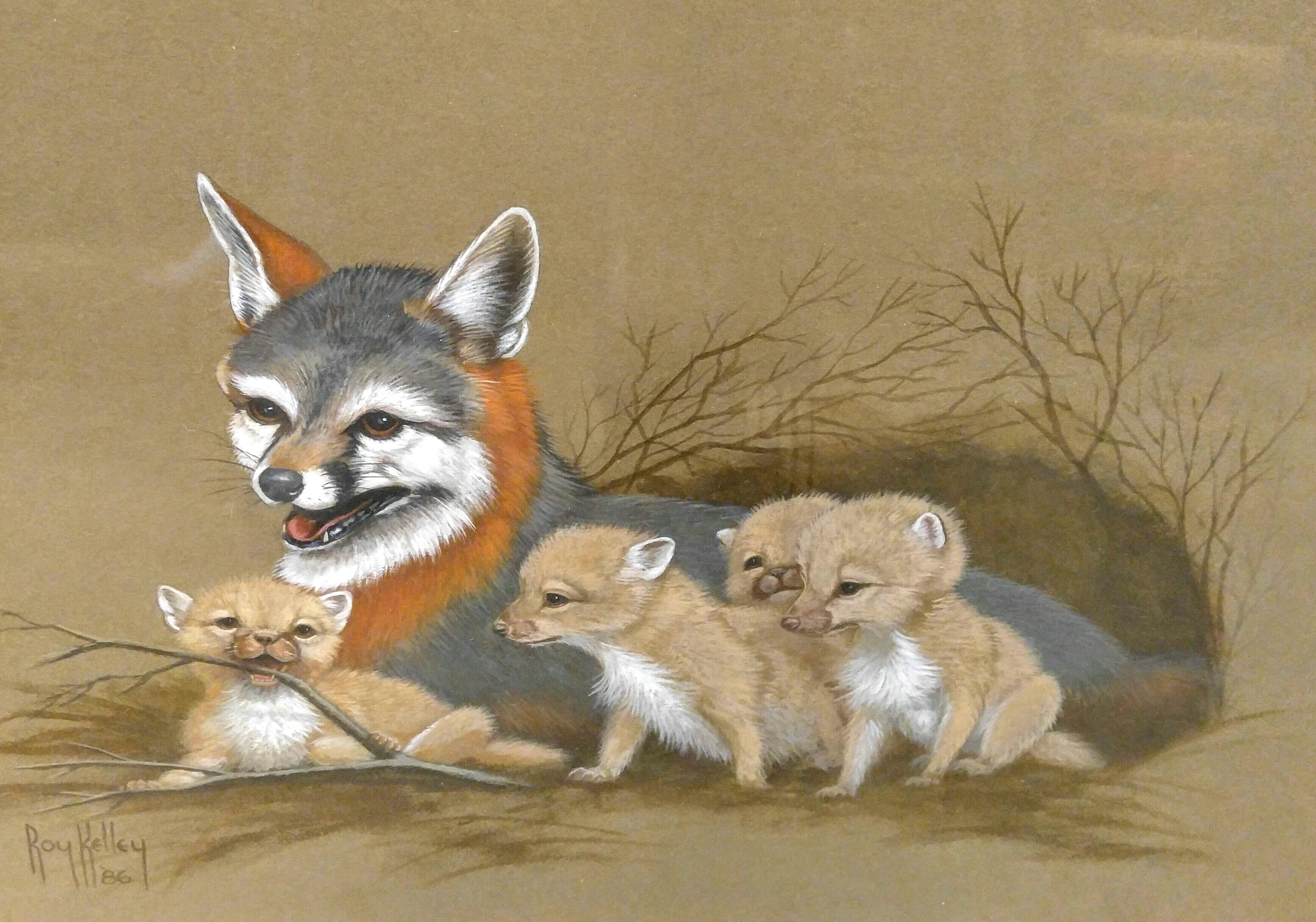 Unusual Fox Painting, Texas artist, Texas painting