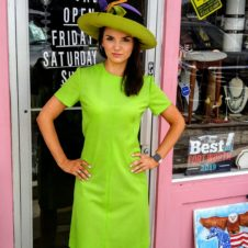 1960s Polyester Green A-Line Fabulous Dress, Fort Worth Vintage Clothing