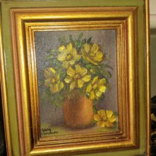 MCM floral Painting,  Fort Worth Antiques