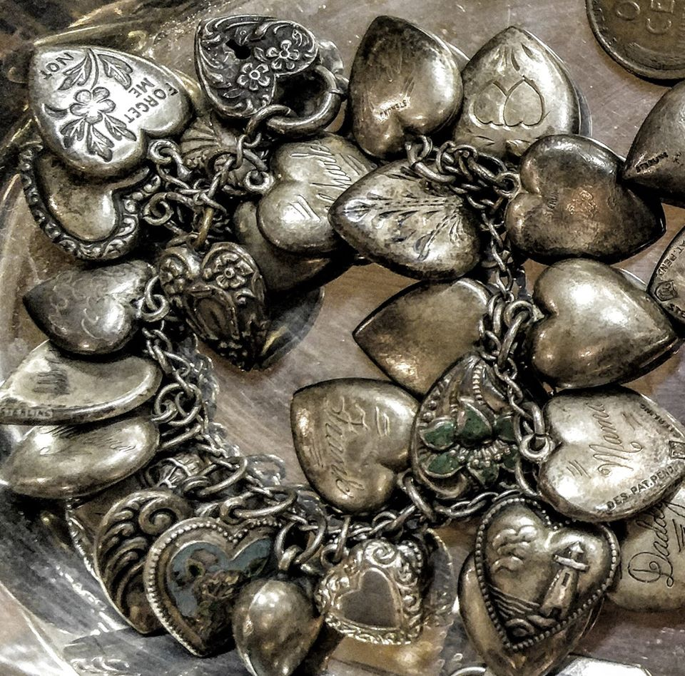 1940s, WW2, sterling puffy heart bracelet, valentines day, antiques fort worth