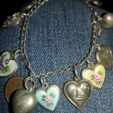 Vintage Sterling Pendants / Charms/ 1940s puffy Hearts